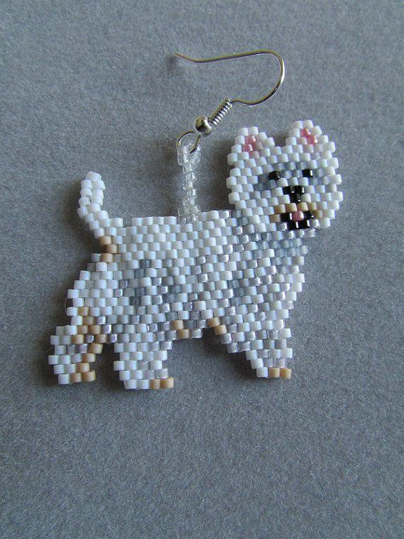 Beaded West Highland Terrier Earrings by DsBeadedCrochetedEtc