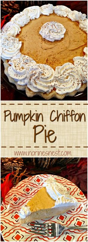 Pumpkin Chiffon Pie is fluffy and creamy and out of this world DELICIOUS! Like Pumpkin Mousse in a crust! A Holiday Family Favorite!