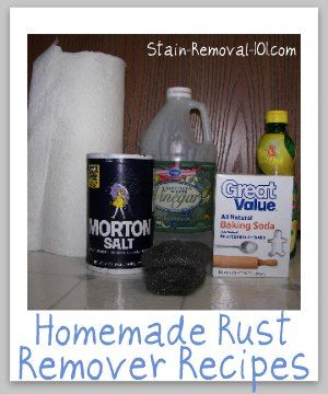 Here are several homemade rust remover recipes so you can safely, easily and cheaply remove rust from various types of surfaces.