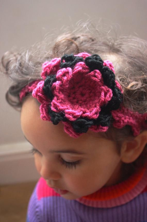 Crochet Chunky Funky Girly Valentine S Day Flower Headband In A Hot Pink And Black Combination In The Large Layere In 2020 Crochet Headband Crochet Baby Hot Pink Baby