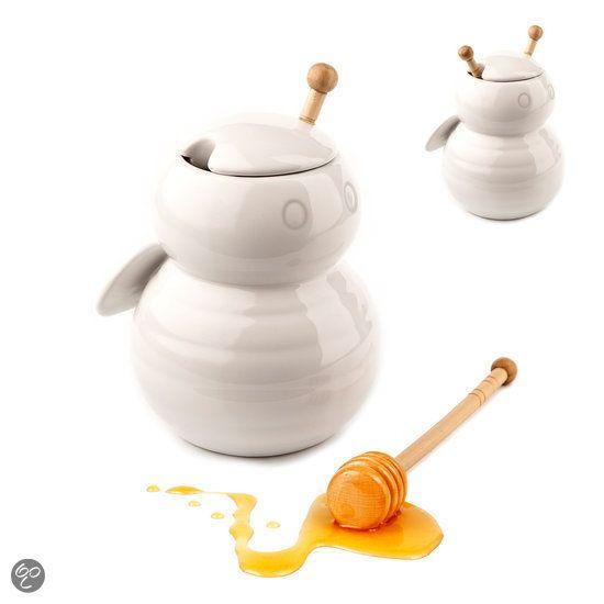 bol.com | Balvi Bumble Bee Honingpot - Keramiek - Wit | Koken en tafelen