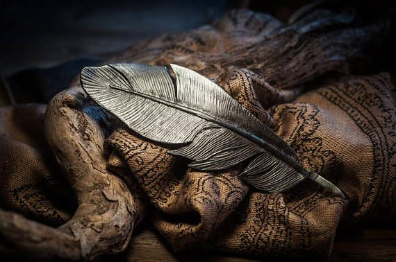 Beautiful hand tooled barrette (or brooch) inspired by a feather. Very light and elegant. You can choos color.  Lenght - about 10-13cm  The price refers one single feather hairpin/brooch