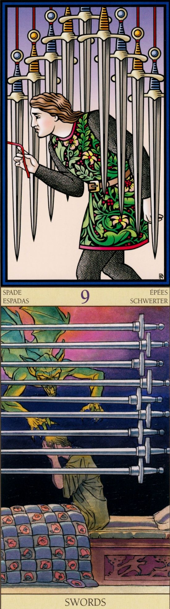 Nine of Swords: nightmares and illogical (reverse). Sevenfold Tarot deck and New Vision Tarot deck: my tarot card reading, free tarot card prediction vs tarotasmr. The best lenormand meanings and psychic readings questions. #ilovemywitchyways #lovers #death #fool #magic #divination