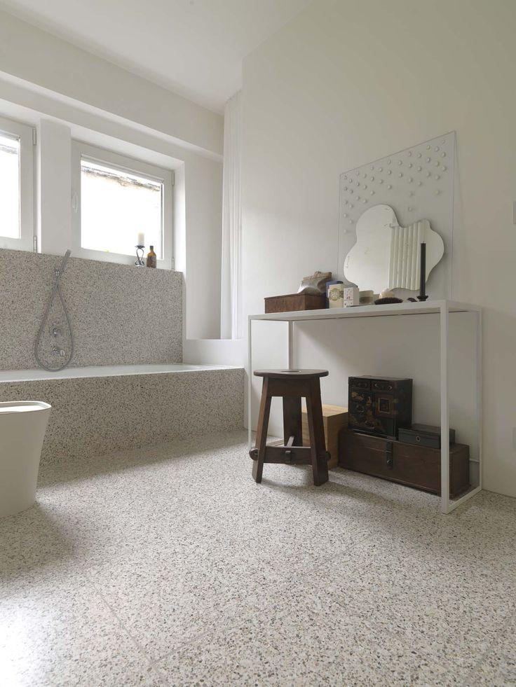 Amazing bathroom and bathtub created using beautiful terrazzo available at Signorino Tile Gallery