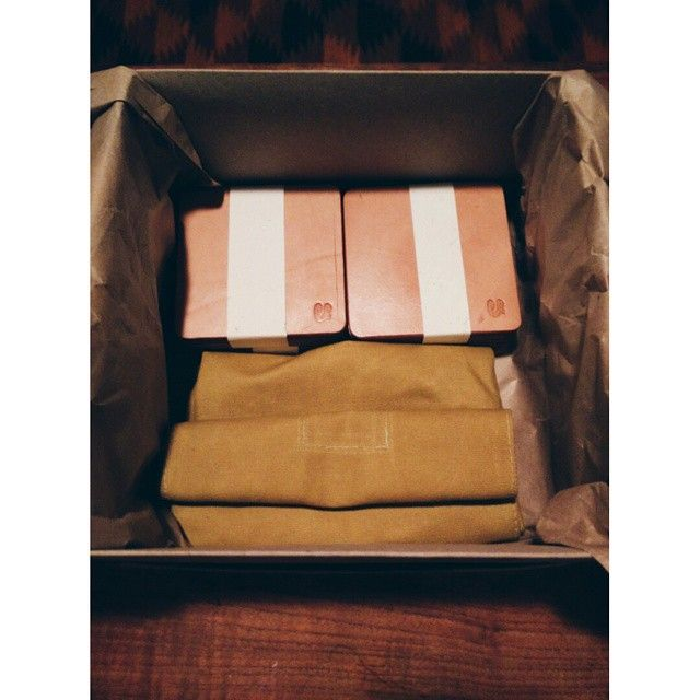 """""""Order going out. First mustard lunch bag and special order of natural veg tan coasters. #face""""  #leather #waxedcanvas #coasters #lunchbag #canvas #lunch #handmade #handcrafted #leathergoods"""