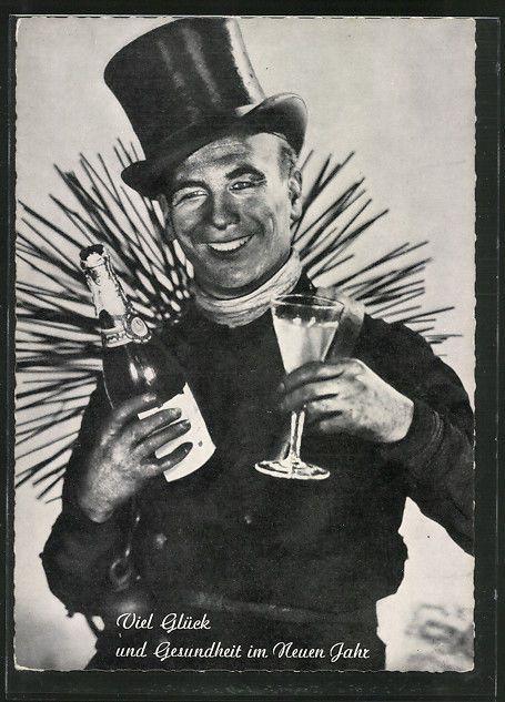 AK Viel Glück und Gesundheit im Neuen Jahr, Schornsteinfeger mit Sektflasche un in Sammeln & Seltenes, Ansichtskarten, Motive | eBay