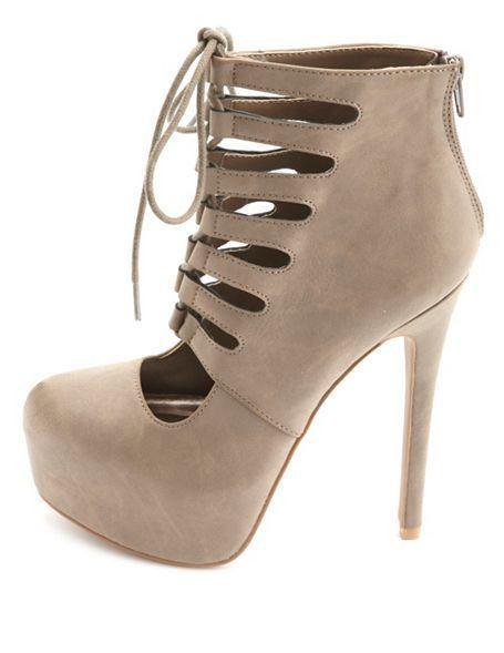Cut-Out Lace-Up Platform Heels: Charlotte Russe