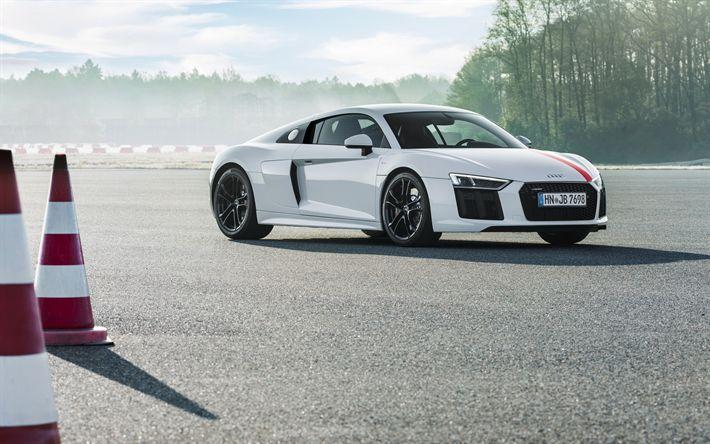 Descargar fondos de pantalla 4k, Audi R8 V10 RWS, 2018 coches, supercars, whire r8, los coches alemanes, el Audi