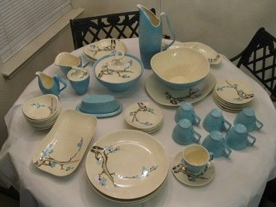 Lot of 51 pieces of Red Wing Driftwood pattern blue China - Rare (04 : red wing dinnerware patterns - Pezcame.Com