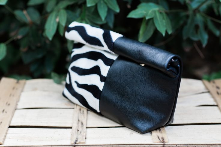 Lunch bag, zebra lunch bag , animal print, woman accessories,  vegan leather with zebra teddy fabric