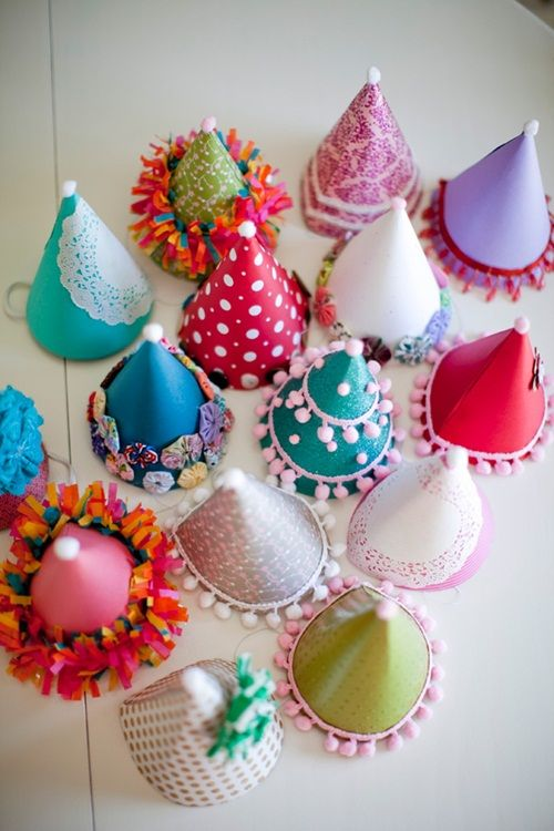 Make festive party hats using scrapbook paper, glitter, ribbons, trim, and so much more. The possibilities are endless!