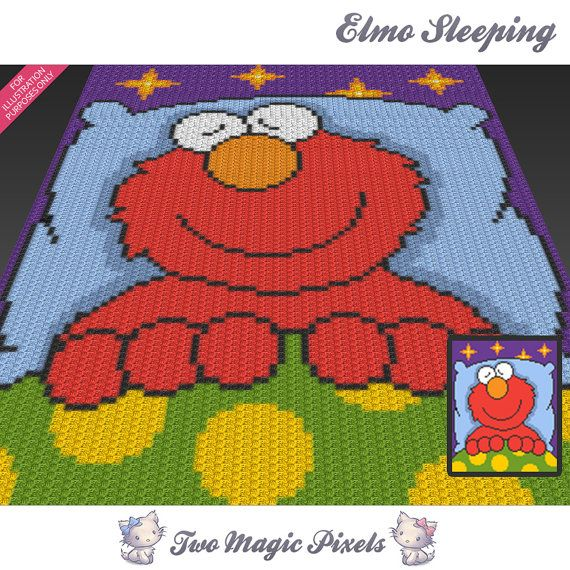 Elmo Sleeping Sesame Street inspired c2c graph by TwoMagicPixels