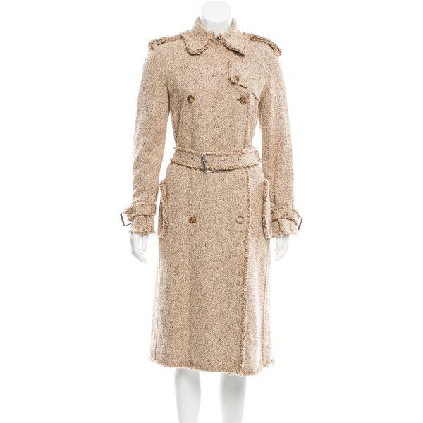 Pre-owned Michael Kors Tweed Trench Coat ($805) ❤ liked on Polyvore featuring outerwear, coats, neutrals, tweed trench coat, beige coat, tweed coats, beige trench coat and michael kors