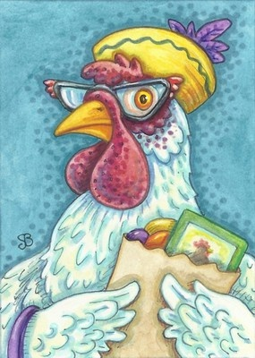 HENNY PENNY WAS A SMART SHOPPER original Chicken ACEO Art By Susan Brack EBSQ CP Licensing