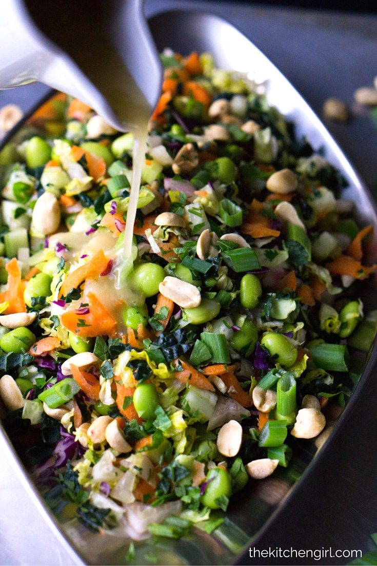 Chopped Thai Salad - clean-eating, Asian vegetable salad. Dressed with sweet and mild-spicy Chili Ginger Vinaigrette. Perfect for meal-prep or meatless Mondays. Gluten-free, vegan. thekitchengirl.com