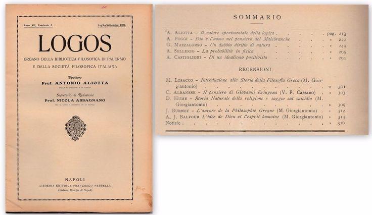 LOGOS Biblioteca Filosofica di Palermo 1929 luglio-settembre  ALIOTTA ABBAGNANO