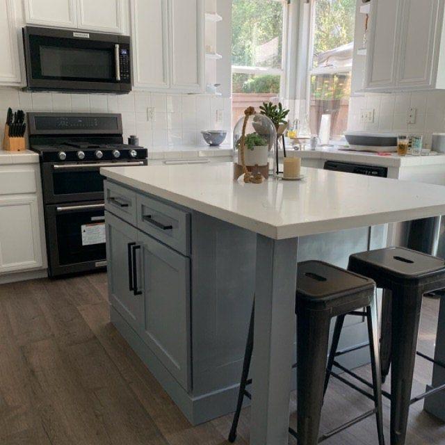 7ft Gray Kitchen Island With White Carrara Quartz Top Custom Welcome Grey Kitchen Island Grey Kitchen White Kitchen Island