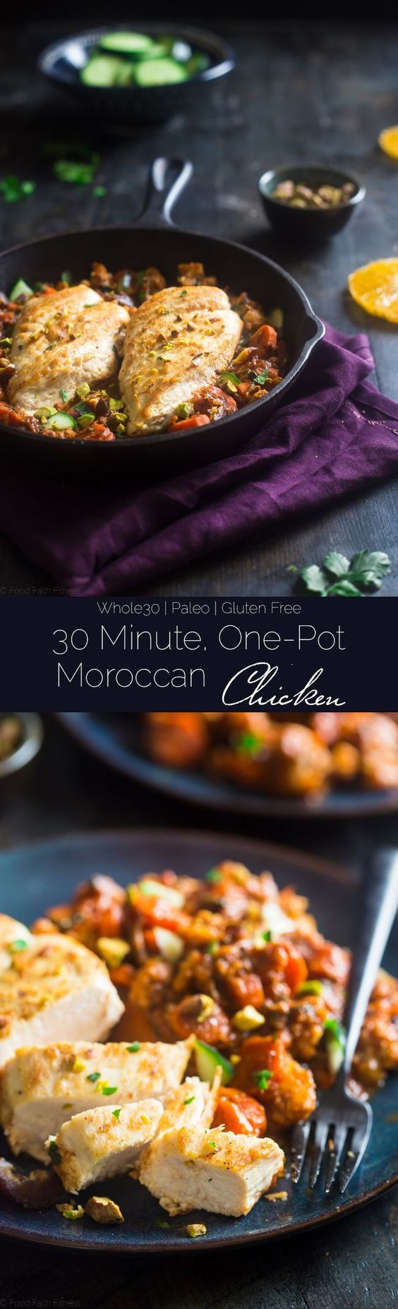 Whole30 Moroccan Chicken Skillet   a How-To Video - This quick and easy one-pan 30 minute Moroccan chicken skillet is LOADED with spicy-sweet flavor. It's a gluten free paleo and whole30 friendly weeknight dinner! |  |
