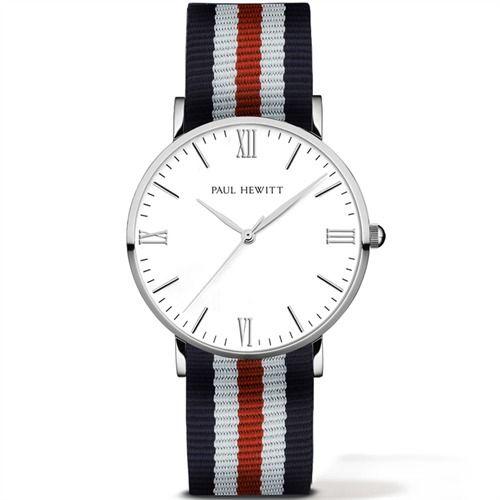 PAUL HEWITT Herrenuhr Silver Line blau-weiß-rot PH-5-1-5-PH-2-3-5 http://www.thejewellershop.com/ #paulhewitt #hewitt #watch #uhr #men #jewelry #schmuck