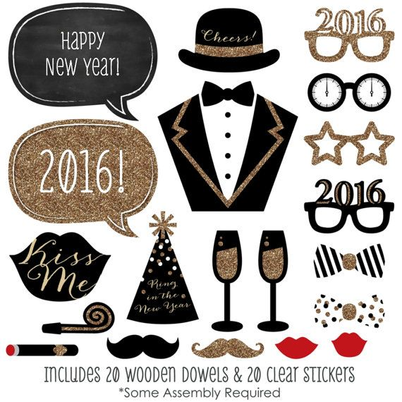 New Year's Eve Photo Booth Props - Gold Photobooth Kit with Custom ...