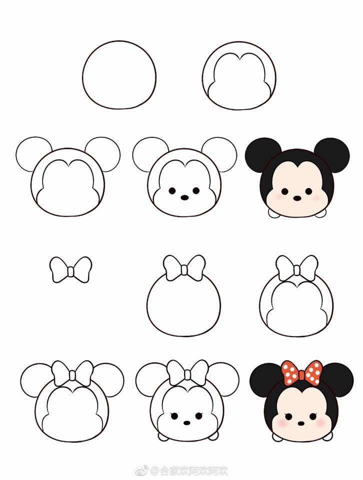 How To Draw Tsum Tsum Dibujos Sencillos Dibujos Bonitos