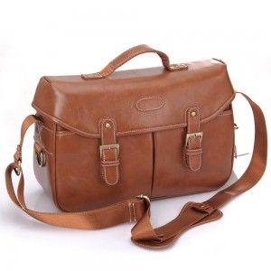 Brown Waterproof Leather Messenger Bag