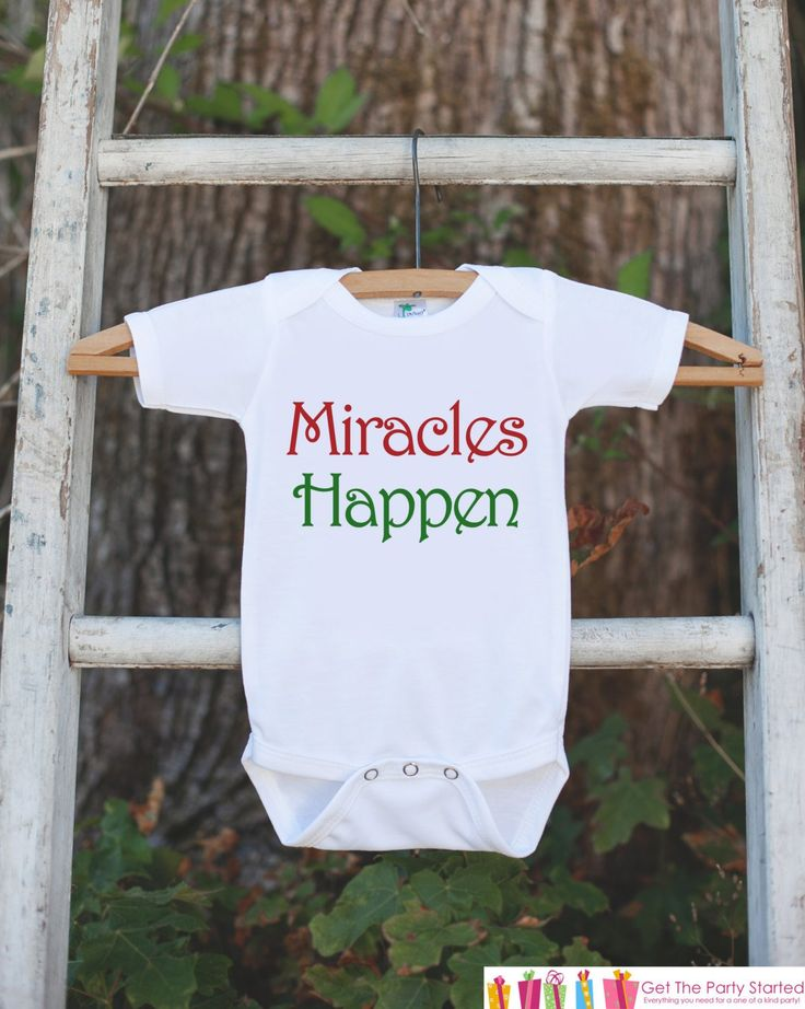 Infant Christmas Outfit - Miracles Happen Christmas Onepiece - Pregnancy Announcement - Christmas Pregnancy Reveal - Newborn Christmas Shirt