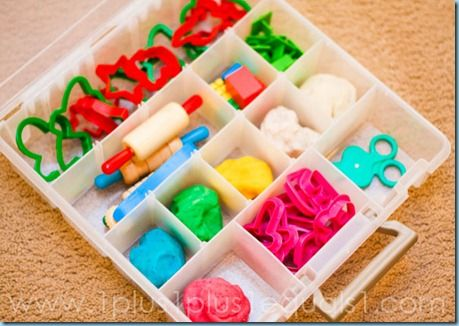 The Busy Hands Play Dough Box--the box is air tight so the play dough and tools can be stored together; children won't have to fight with opening individual containers of play dough