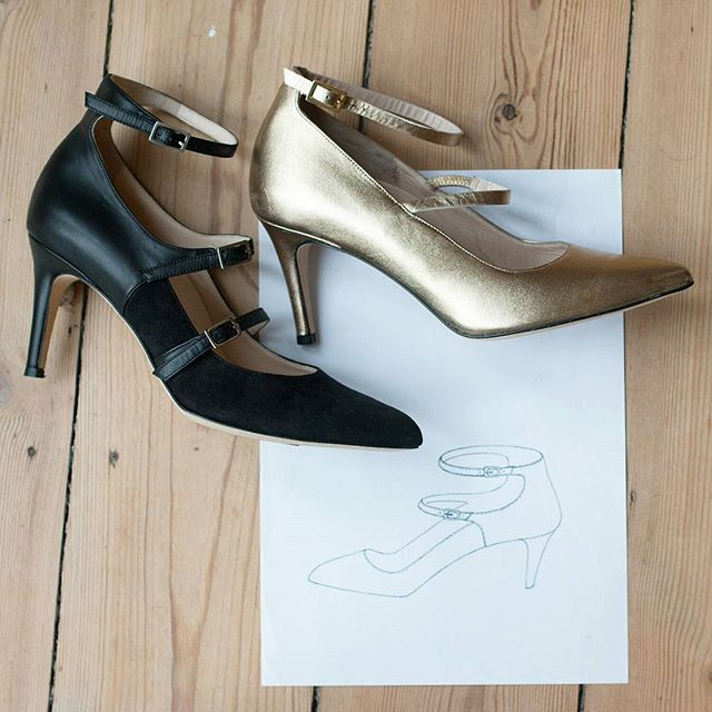 High heel design process at roccamore: Sketching, sample shoe and final product.   Heels | Footwear | Shoes | Boots | Slow fashion | fair fashion | Designer Shoes | Stylish women shoes | Versatile shoes | Ankle boots | Black classic shoes | Work shoes | Work heels| Work high heels | boots | woman boots | Women shoes