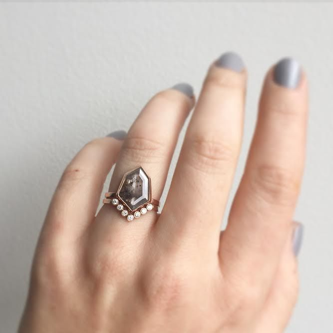one of a kind geometric grey diamond ring + wedding band :: Alexis Russell