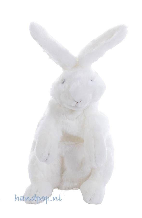 Dit mooie witte konijn is inclusief oren 40 cm hoog en gemaakt door Folkmanis.  Hij zit recht overeind op zijn achterpoten en wordt vanuit die houding bespeeld.