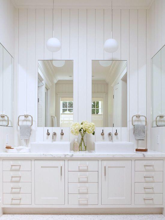 Country Bathroom | White Beadboard | White Hydrangea | Floral Arrangement | Home Decor