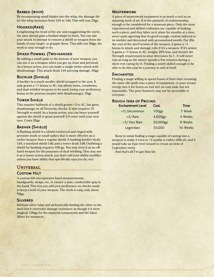 Weapon modifications   D&D info   Dnd 5e homebrew, Dnd races