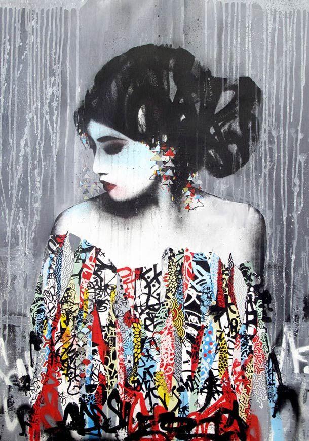 Les créations du street artist anglais HUSH, qui mélange avec talent les techniques du collage, graffiti, pochoir, dessin, dans un univers peuplé de geisha j