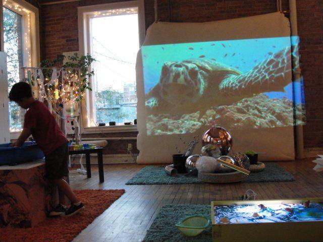 Overhead projector, light table - sea provocation @ Bambini Creativi http://pinterest.com/kinderooacademy/light-shadow-reflection-play/