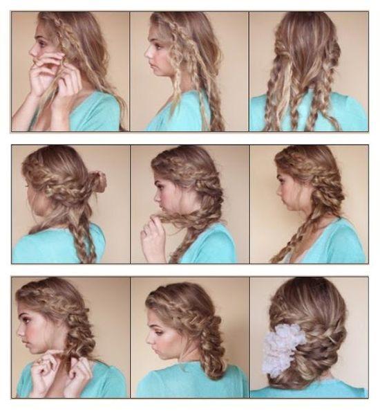 hairstyles tutorial: Bohemian Braided Updo Hairstyle