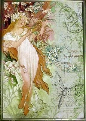 """Affiche+... Art Nouveau(stijl) Vrouw *Poster+...Jugendstil(style) Women ~Bewerking van """"The Seasons: Spring (1896)"""" van Alphonse Mucha door Linda Gibbons~"""