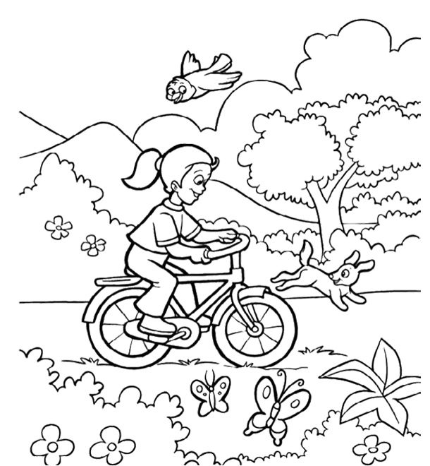 The Childern Happy Welcome Spring Coloring Page For Kids ...