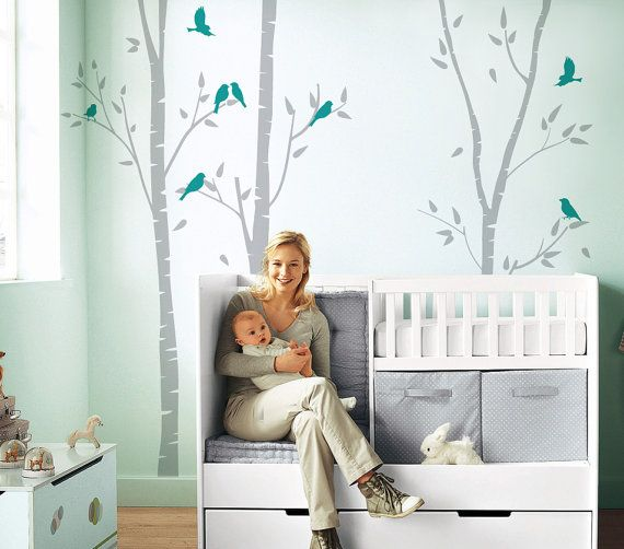 """Birch Trees with birds Vinyl Art Baby Room Designs Wall Sticker Decals Home Decor Art ★ SIZE ★ 102"""" H by 90"""" W( depends on where you want to place"""