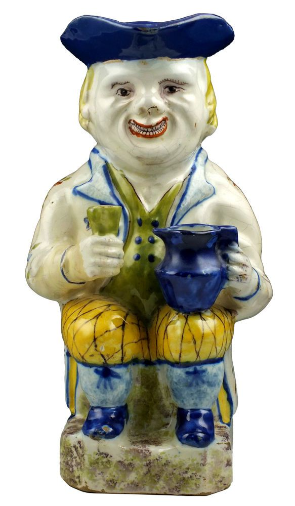 Large Signed 18th C Dutch Delft Polychrome Toby Jug