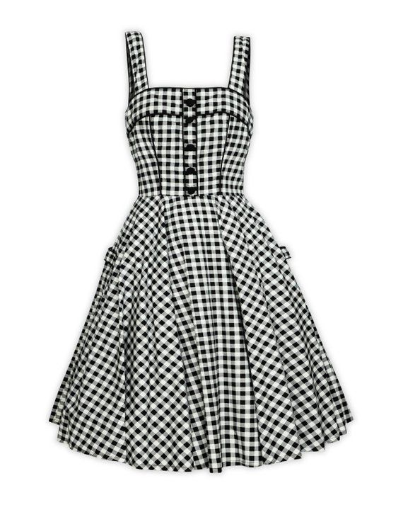 6f453fa243d1 Plus Size Black and White Checkered Dress Vintage Dress Summer Dress  Rockabilly Pinup Dress 50s Retr