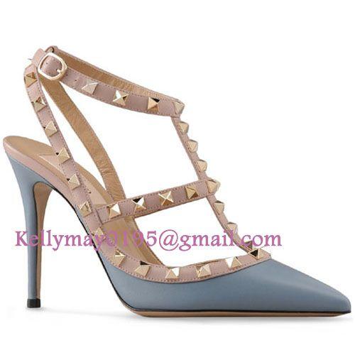 Outlet Valentino Shoes Rockstud Rockstud Slingback 100mm Slate blue,Valentino Rockstud Shoes Outlet