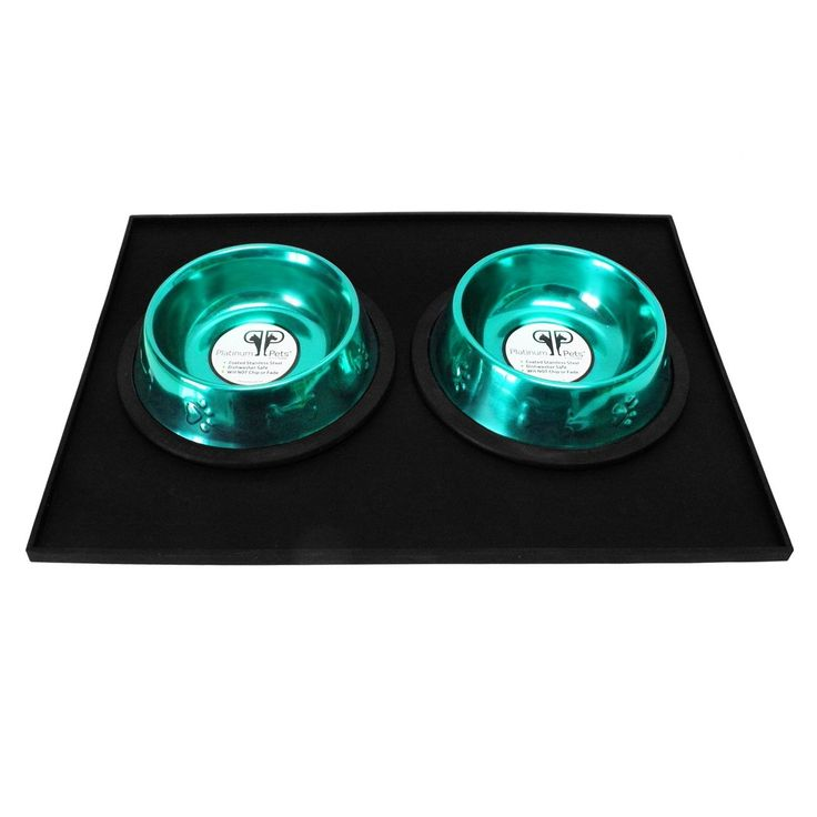Platinum Pets 4 Cup Embossed Non-Tip Stainless Steel Dog Bowls with Black Feeding Mat Caribbean Teal