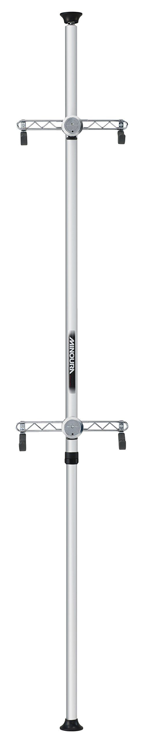 Minoura Bike Tower 20 Storage/Display Stand. Adjustable from 1.7-3.1 M (5.6-10.2 ft). Distance between hooks can be adjusted between 325-415 mm (12.8-16.3 in). Angle adjustable up to 10 degrees either way. Padded hooks to protect your bike frame. Double lock system and can hold up to 4 bikes with additional cradle.
