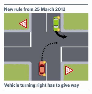 Vehicles turning right to give way.