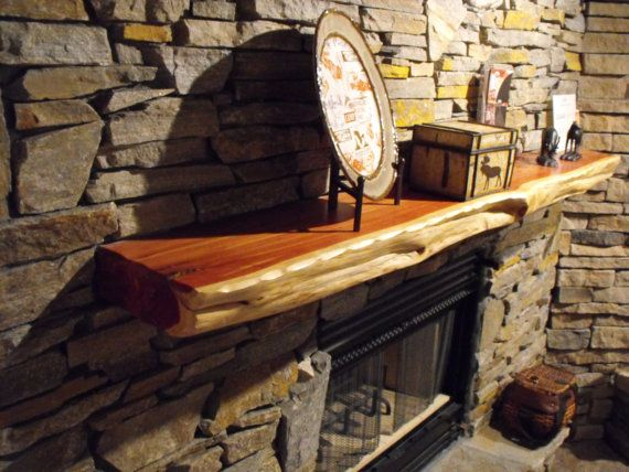 Live Edge red cedar Fireplace Mantels made to by ...