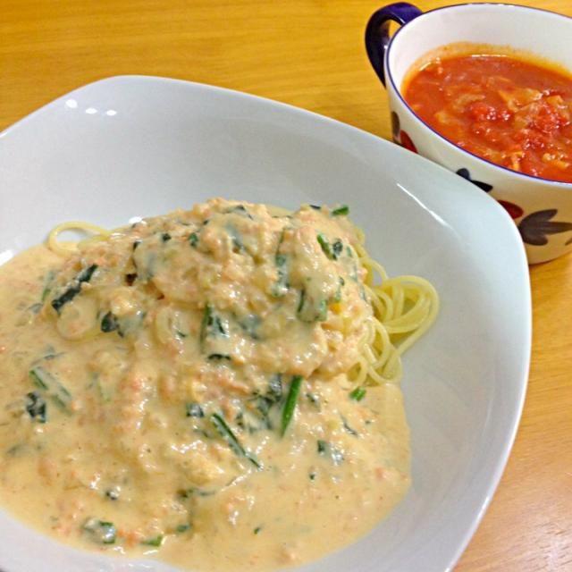 久々にアップ〜 ミネストローネも美味しかった♡ - 5件のもぐもぐ - ほうれん草と鮭のクリームパスタ by noa