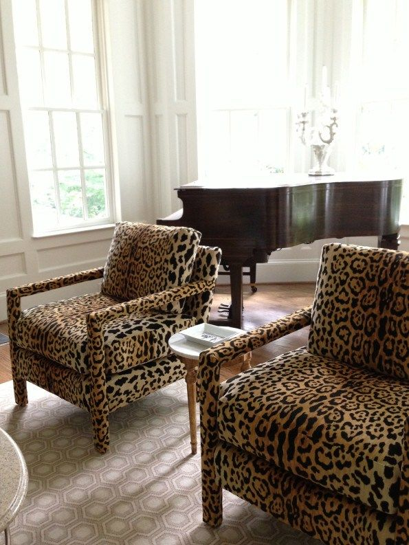 Cover every inch of your chairs in leopard!  @Duralee DV61206-600 leopard print velvet used on Parsons chairs by From the Left Bank