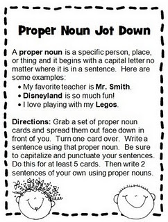 Proper Noun Jot Down: Great activity for a Literacy Work Station. ~CN