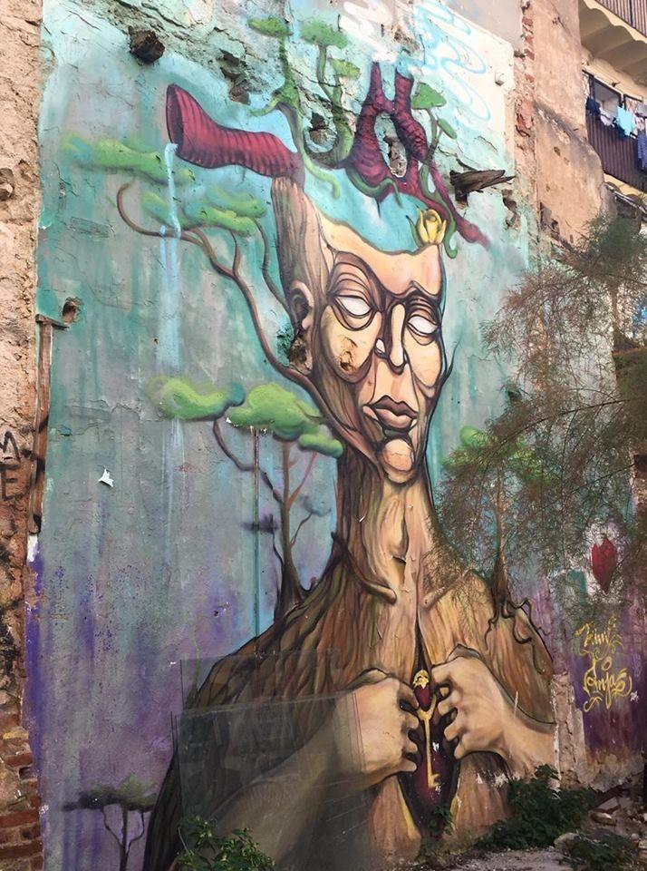 Obra anónima en la Ágora Juan Andrés, un espacio liberado del barrio del Raval en memoria a Juan Andrés Benítez, asesinado por la policía el 5 de octubre de 2013.  #ArtSocietatEducació2016 #graffiti